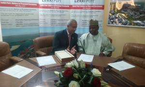 (L-R) Haresh Aswani, MD Lekki Port and Alhaji Sanusi Lamido Ado Bayero, MD NPA